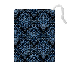 Damask1 Black Marble & Blue Colored Pencil Drawstring Pouch (xl) by trendistuff