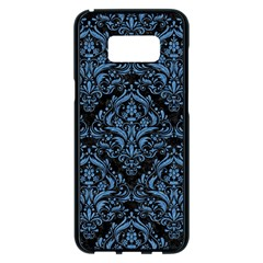 Damask1 Black Marble & Blue Colored Pencil Samsung Galaxy S8 Plus Black Seamless Case