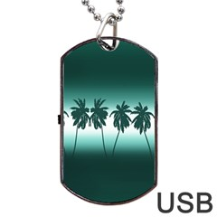 Tropical Sunset Dog Tag Usb Flash (two Sides) by Valentinaart