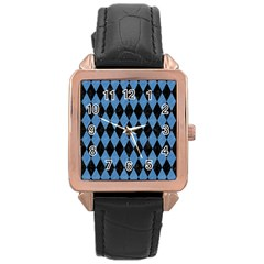 Diamond1 Black Marble & Blue Colored Pencil Rose Gold Leather Watch