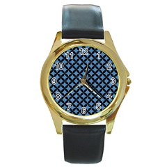 Circles3 Black Marble & Blue Colored Pencil (r) Round Gold Metal Watch by trendistuff