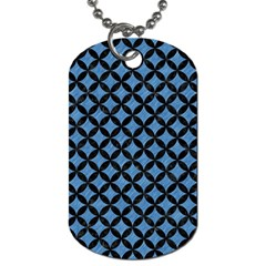 Circles3 Black Marble & Blue Colored Pencil (r) Dog Tag (one Side) by trendistuff