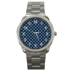 Circles3 Black Marble & Blue Colored Pencil (r) Sport Metal Watch by trendistuff