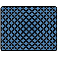 Circles3 Black Marble & Blue Colored Pencil (r) Fleece Blanket (medium) by trendistuff