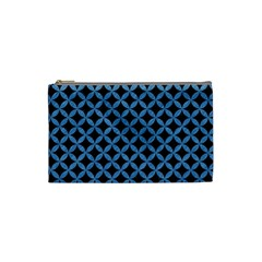 Circles3 Black Marble & Blue Colored Pencil Cosmetic Bag (small) by trendistuff