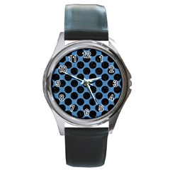 CIRCLES2 BLACK MARBLE & BLUE COLORED PENCIL (R) Round Metal Watch