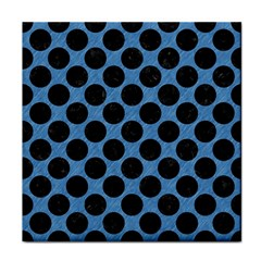 CIRCLES2 BLACK MARBLE & BLUE COLORED PENCIL (R) Tile Coaster