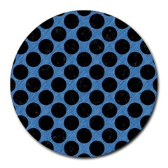 CIRCLES2 BLACK MARBLE & BLUE COLORED PENCIL (R) Round Mousepad