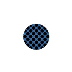 CIRCLES2 BLACK MARBLE & BLUE COLORED PENCIL (R) 1  Mini Button