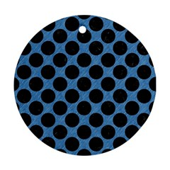CIRCLES2 BLACK MARBLE & BLUE COLORED PENCIL (R) Ornament (Round)