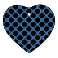 CIRCLES2 BLACK MARBLE & BLUE COLORED PENCIL (R) Ornament (Heart)