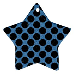 CIRCLES2 BLACK MARBLE & BLUE COLORED PENCIL (R) Ornament (Star)