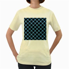 CIRCLES2 BLACK MARBLE & BLUE COLORED PENCIL (R) Women s Yellow T-Shirt