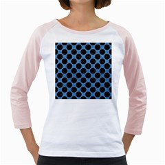 CIRCLES2 BLACK MARBLE & BLUE COLORED PENCIL (R) Girly Raglan