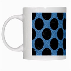 CIRCLES2 BLACK MARBLE & BLUE COLORED PENCIL (R) White Mug