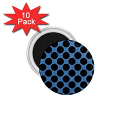 CIRCLES2 BLACK MARBLE & BLUE COLORED PENCIL (R) 1.75  Magnet (10 pack)