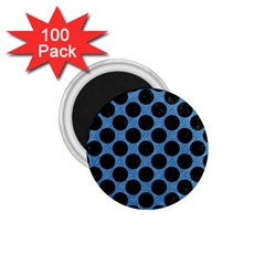 CIRCLES2 BLACK MARBLE & BLUE COLORED PENCIL (R) 1.75  Magnet (100 pack)