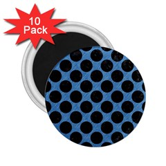 CIRCLES2 BLACK MARBLE & BLUE COLORED PENCIL (R) 2.25  Magnet (10 pack)