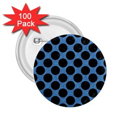 CIRCLES2 BLACK MARBLE & BLUE COLORED PENCIL (R) 2.25  Button (100 pack)