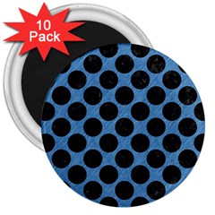 CIRCLES2 BLACK MARBLE & BLUE COLORED PENCIL (R) 3  Magnet (10 pack)