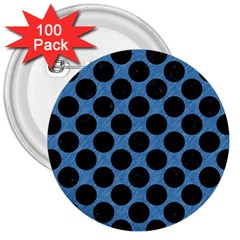 CIRCLES2 BLACK MARBLE & BLUE COLORED PENCIL (R) 3  Button (100 pack)