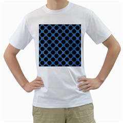 CIRCLES2 BLACK MARBLE & BLUE COLORED PENCIL (R) Men s T-Shirt (White) (Two Sided)