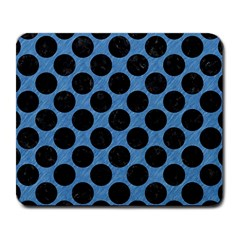 CIRCLES2 BLACK MARBLE & BLUE COLORED PENCIL (R) Large Mousepad