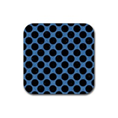 CIRCLES2 BLACK MARBLE & BLUE COLORED PENCIL (R) Rubber Coaster (Square)