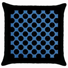 CIRCLES2 BLACK MARBLE & BLUE COLORED PENCIL (R) Throw Pillow Case (Black)