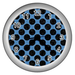 CIRCLES2 BLACK MARBLE & BLUE COLORED PENCIL (R) Wall Clock (Silver)