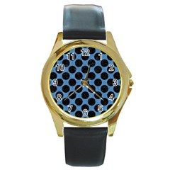 CIRCLES2 BLACK MARBLE & BLUE COLORED PENCIL (R) Round Gold Metal Watch