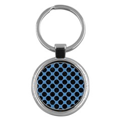 CIRCLES2 BLACK MARBLE & BLUE COLORED PENCIL (R) Key Chain (Round)