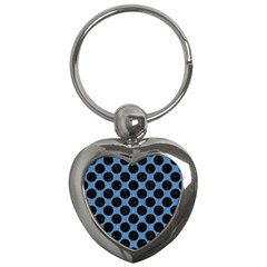 CIRCLES2 BLACK MARBLE & BLUE COLORED PENCIL (R) Key Chain (Heart)