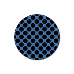 CIRCLES2 BLACK MARBLE & BLUE COLORED PENCIL (R) Rubber Coaster (Round)