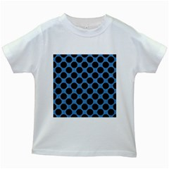 CIRCLES2 BLACK MARBLE & BLUE COLORED PENCIL (R) Kids White T-Shirt