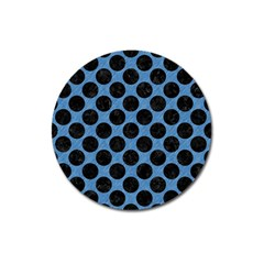 CIRCLES2 BLACK MARBLE & BLUE COLORED PENCIL (R) Magnet 3  (Round)