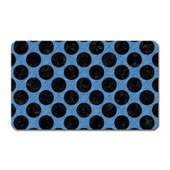 CIRCLES2 BLACK MARBLE & BLUE COLORED PENCIL (R) Magnet (Rectangular)