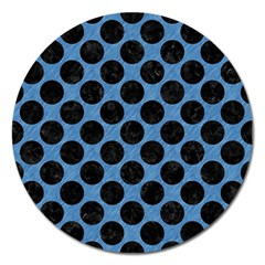 CIRCLES2 BLACK MARBLE & BLUE COLORED PENCIL (R) Magnet 5  (Round)