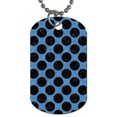 CIRCLES2 BLACK MARBLE & BLUE COLORED PENCIL (R) Dog Tag (One Side)