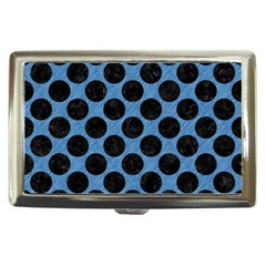 CIRCLES2 BLACK MARBLE & BLUE COLORED PENCIL (R) Cigarette Money Case