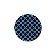 CIRCLES2 BLACK MARBLE & BLUE COLORED PENCIL (R) Golf Ball Marker