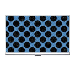 CIRCLES2 BLACK MARBLE & BLUE COLORED PENCIL (R) Business Card Holder