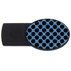 CIRCLES2 BLACK MARBLE & BLUE COLORED PENCIL (R) USB Flash Drive Oval (2 GB)