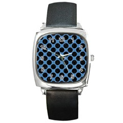 CIRCLES2 BLACK MARBLE & BLUE COLORED PENCIL (R) Square Metal Watch
