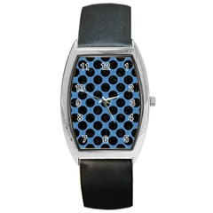 CIRCLES2 BLACK MARBLE & BLUE COLORED PENCIL (R) Barrel Style Metal Watch