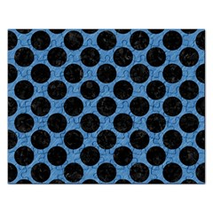 CIRCLES2 BLACK MARBLE & BLUE COLORED PENCIL (R) Jigsaw Puzzle (Rectangular)