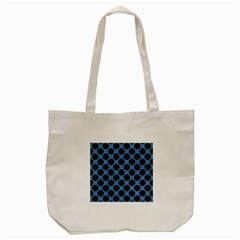CIRCLES2 BLACK MARBLE & BLUE COLORED PENCIL (R) Tote Bag (Cream)