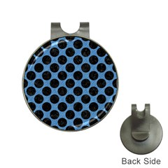 CIRCLES2 BLACK MARBLE & BLUE COLORED PENCIL (R) Golf Ball Marker Hat Clip