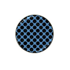 CIRCLES2 BLACK MARBLE & BLUE COLORED PENCIL (R) Hat Clip Ball Marker