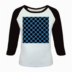 CIRCLES2 BLACK MARBLE & BLUE COLORED PENCIL (R) Kids Baseball Jersey
